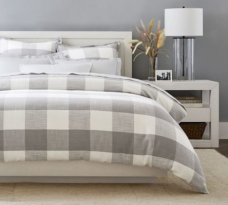Bryce Buffalo Check Cotton Duvet Cover & Shams - Smoke