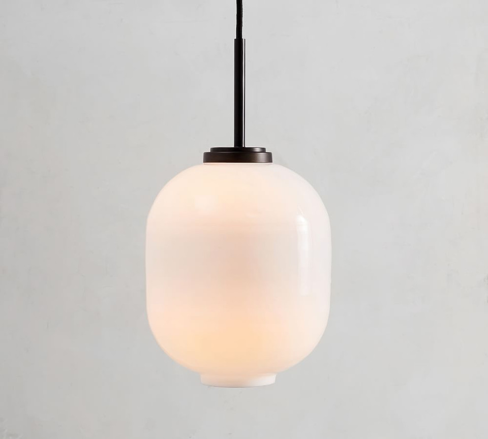 Bryn Milk Glass Round Pendant