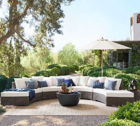 Huntington All-Weather Wicker Rounded Sectional Components