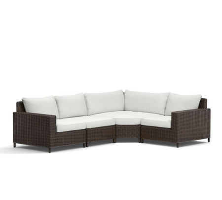Torrey All-Weather Wicker Square-Arm Wedge-Corner Sectional Set - Espresso