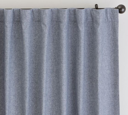 Calhan Tweed Curtain - Blue Fleck