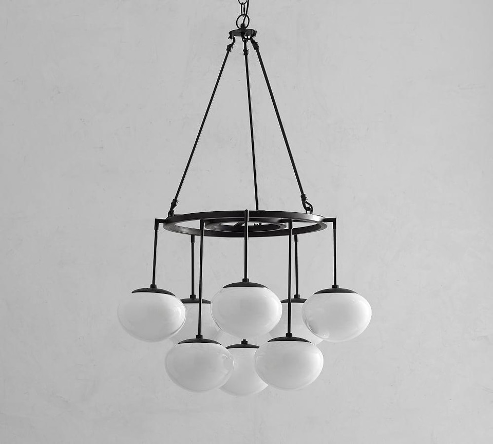 Callahan Round Milk Glass Chandelier