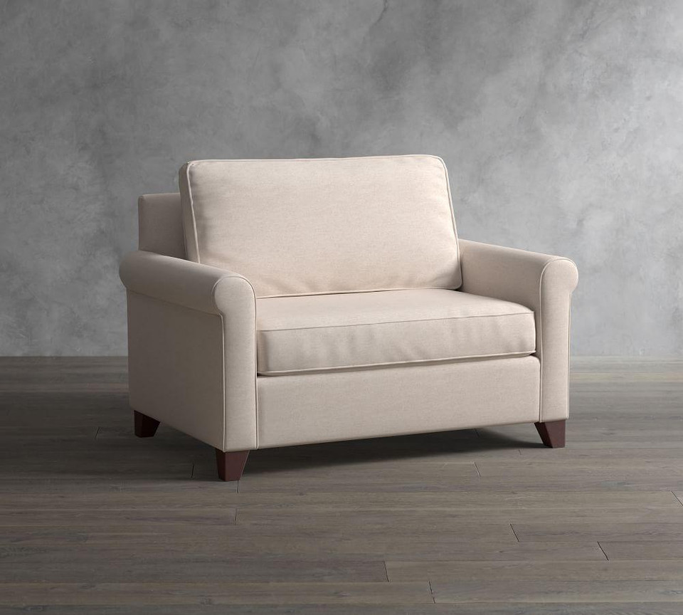 Cameron Roll Arm Upholstered Twin Sleeper Sofa with Memory Foam Mattress