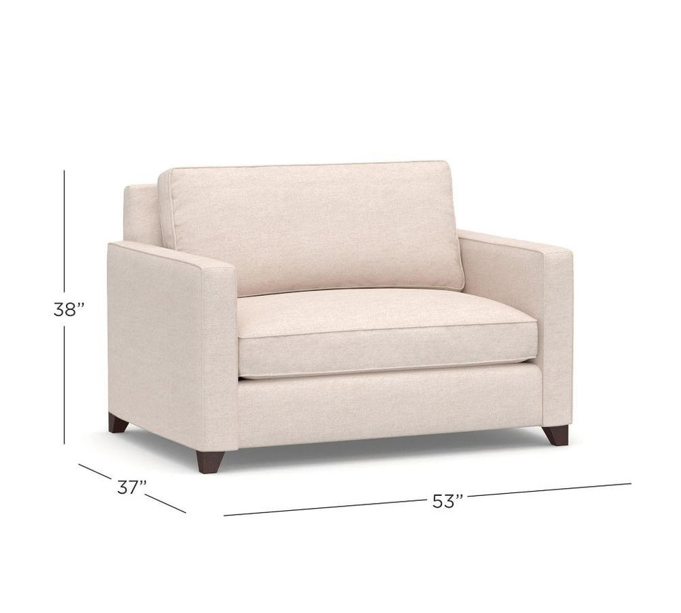 Cameron Square Arm Upholstered Twin Sleeper Sofa with Air Topper