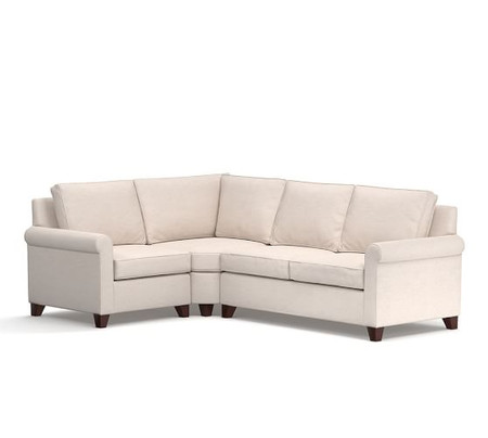 Cameron Roll Arm Upholstered 3-Piece Sectional with Wedge