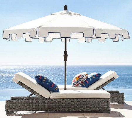 9' Round Capri Umbrella – Sunbrella® Natural with Navy Piping