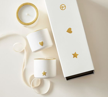 Ceramic Icon Mini Scented Candle Set - Heart, Peace, Star