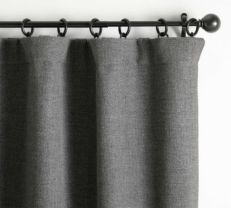 Chateau Basketweave Blackout Curtain - Charcoal