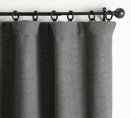 Chateau Basketweave Curtain - Charcoal