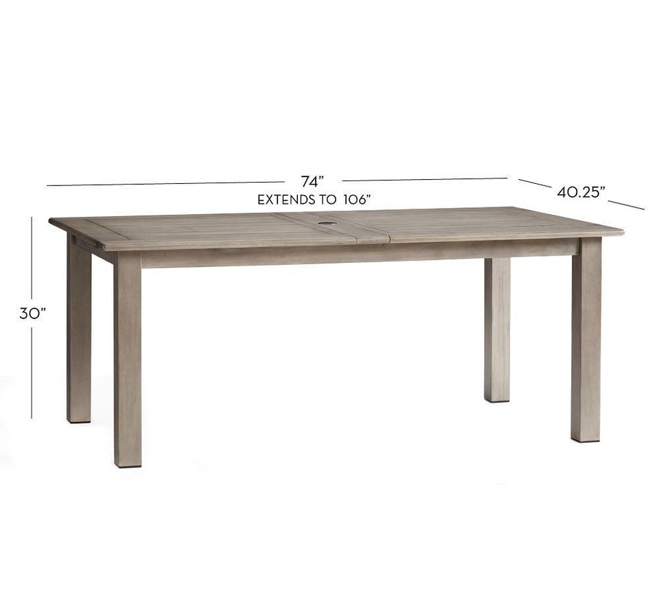 Chatham Rectangular Extending Dining Table, Gray