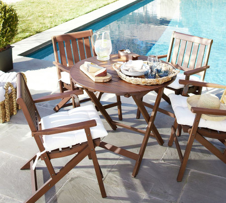 Chatham Round Folding Bistro Table & Chair Dining Set, Honey