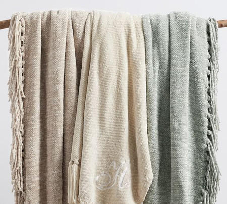 Chenille Hand-Knotted Fringe Throw