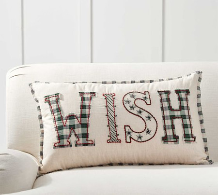 Christmas Wish Embroidered Pillow Cover