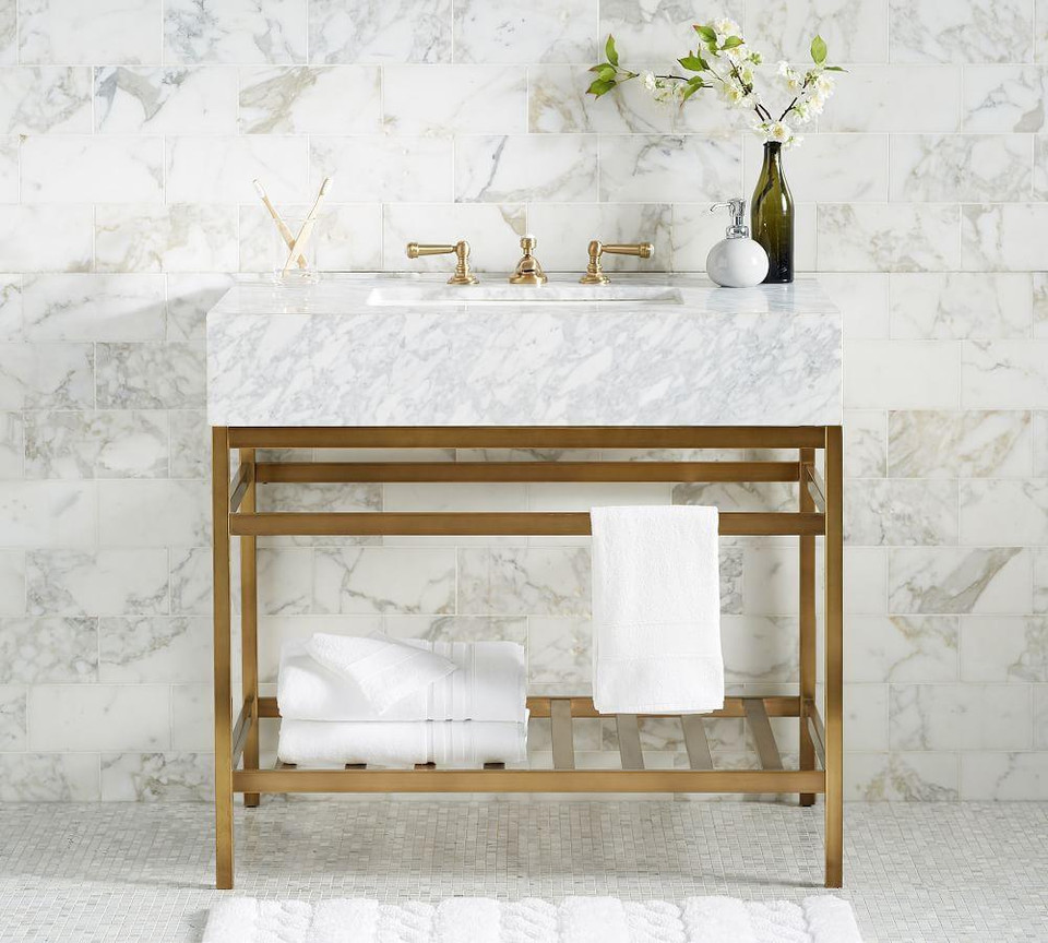 Clarence Apothecary Single Sink Vanity Brass 36
