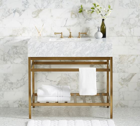 Clarence Apothecary Single Sink Vanity, Brass – 36""