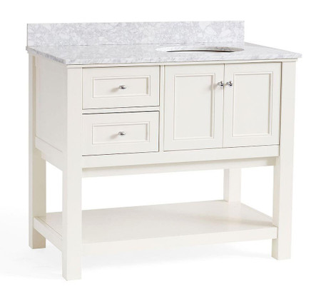 Classic Asymmetric Single Sink Console - White