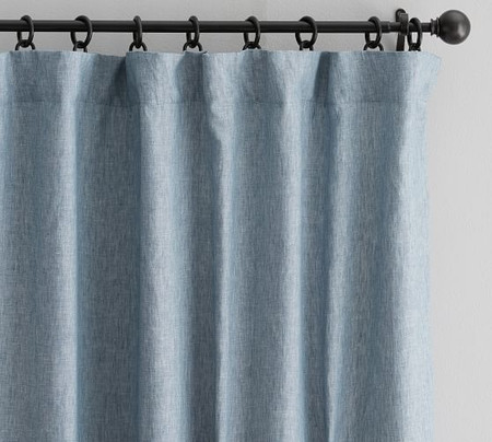 Classic Belgian Flax Linen Blackout Curtain - Blue Chambray