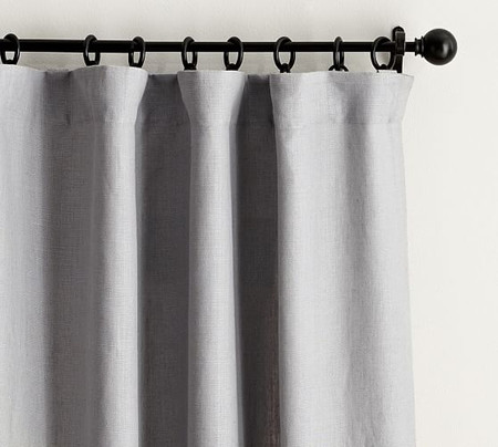 Classic Belgian Flax Linen Blackout Curtain - Gray Chambray