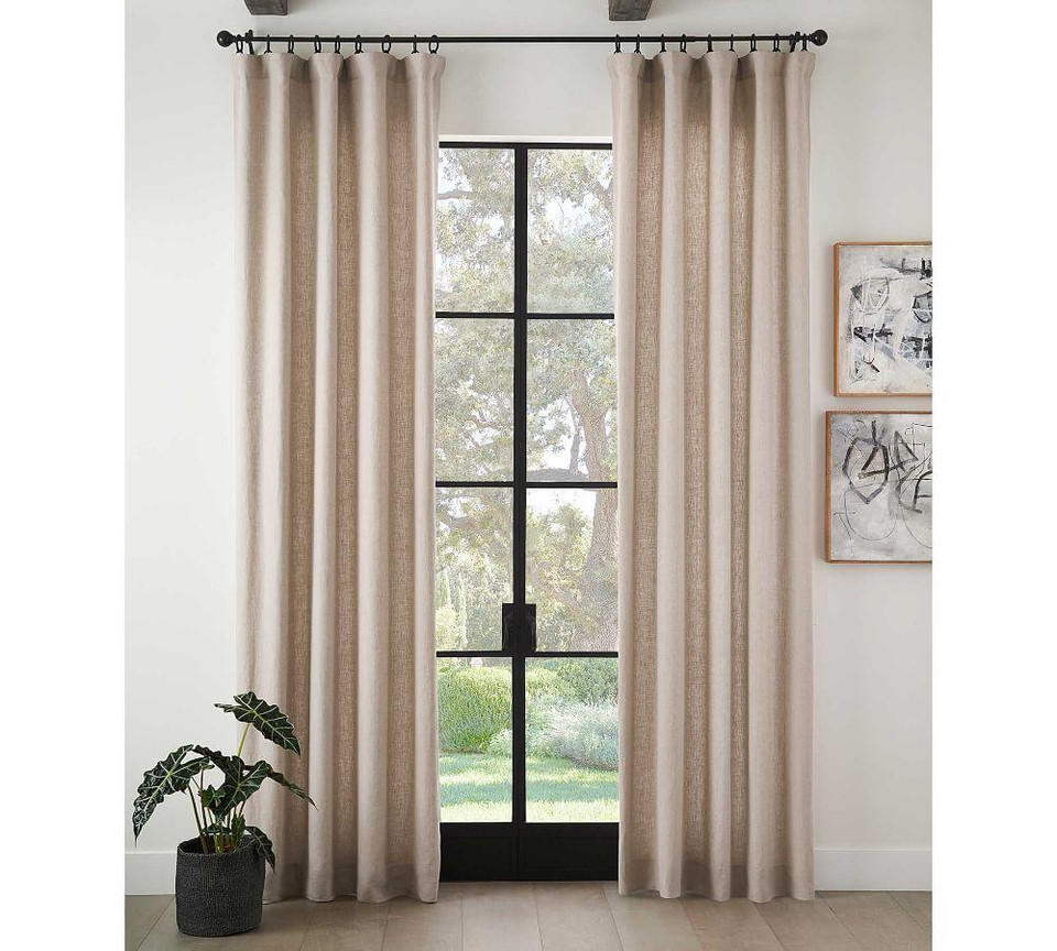 Classic Belgian Flax Linen Blackout Curtain - Soft Rose
