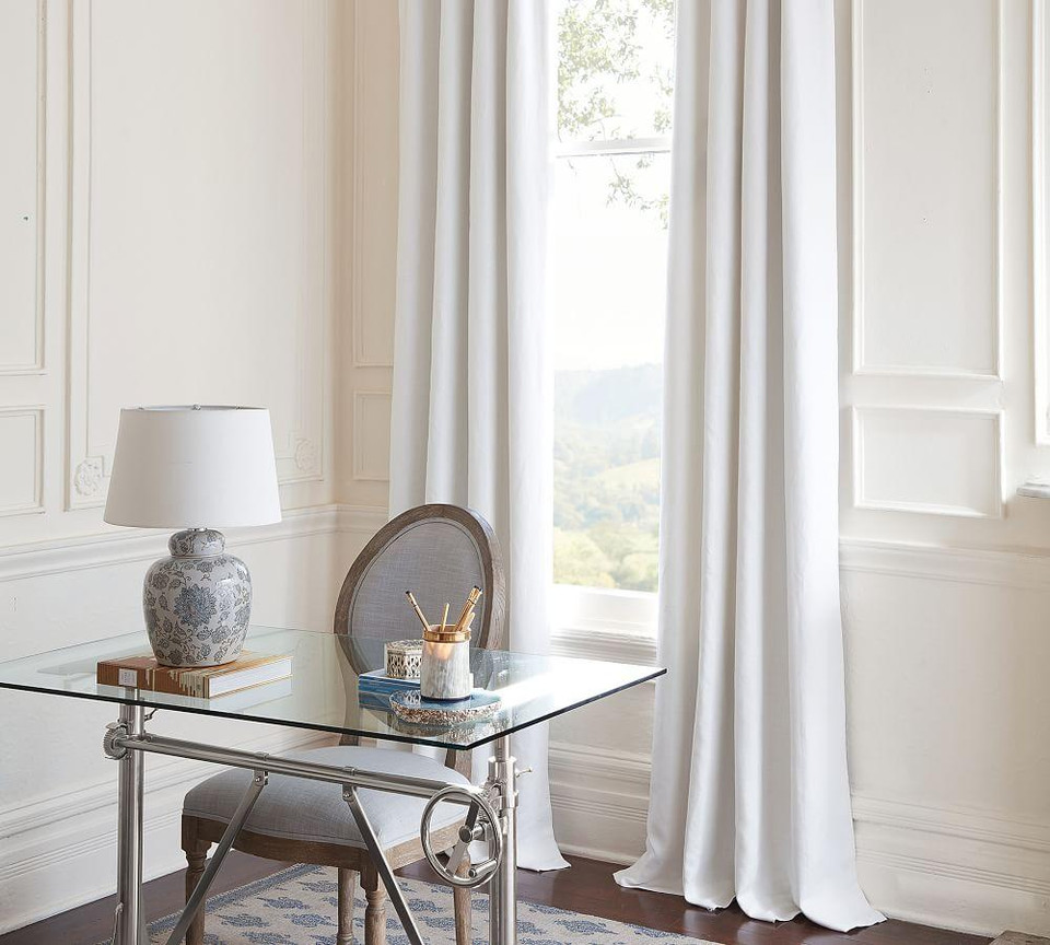 Classic Belgian Flax Linen Blackout Curtain - White