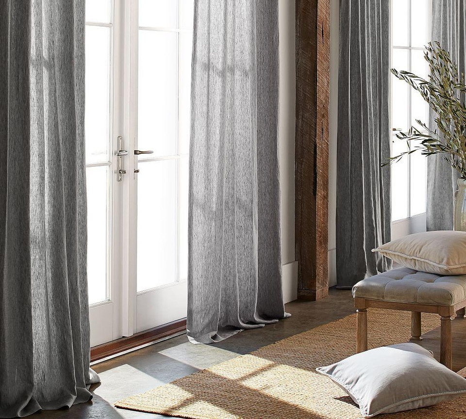 Classic Belgian Flax Linen Curtain - Gray Chambray
