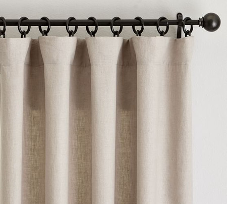 Classic Belgian Flax Linen Rod Pocket Curtain - Dark Flax