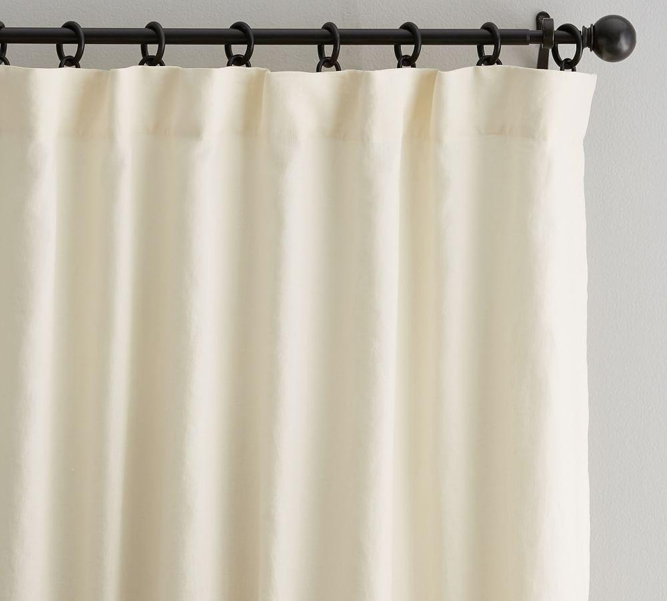 Classic Belgian Flax Linen Curtain - Ivory
