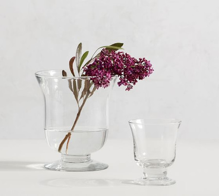 Clear Glass Footed Vase Collection