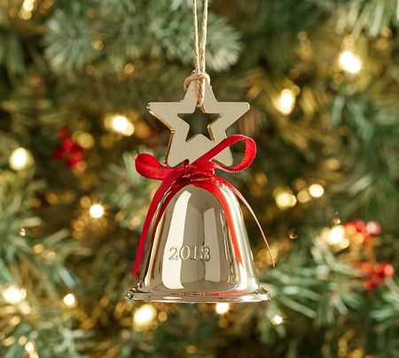Brass-Plated 2018 Engraved Star Bell Ornament