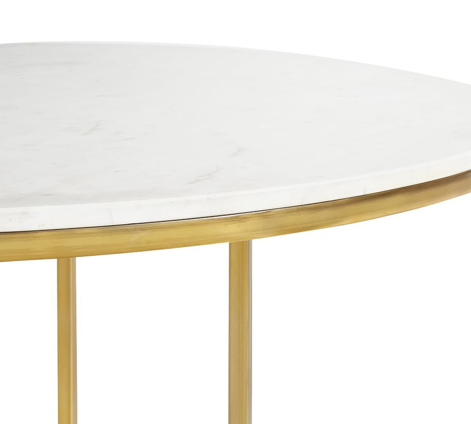Delaney Round Marble Pedestal Dining Table | Pottery Barn CA |Delaney Dining Chair Pottery Barn