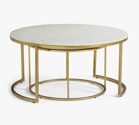 Delaney Round Marble Nesting Coffee Tables Pottery Barn Canada