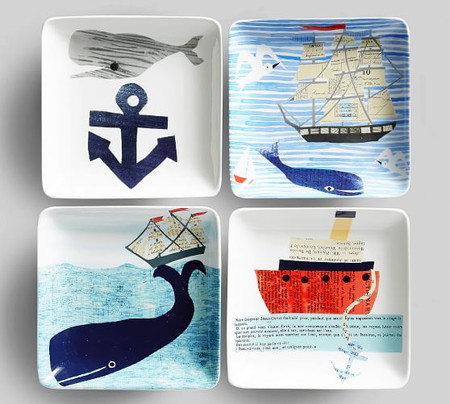 Denise Fiedler Nautical Appetizer Plates, Set of 4 - Assorted