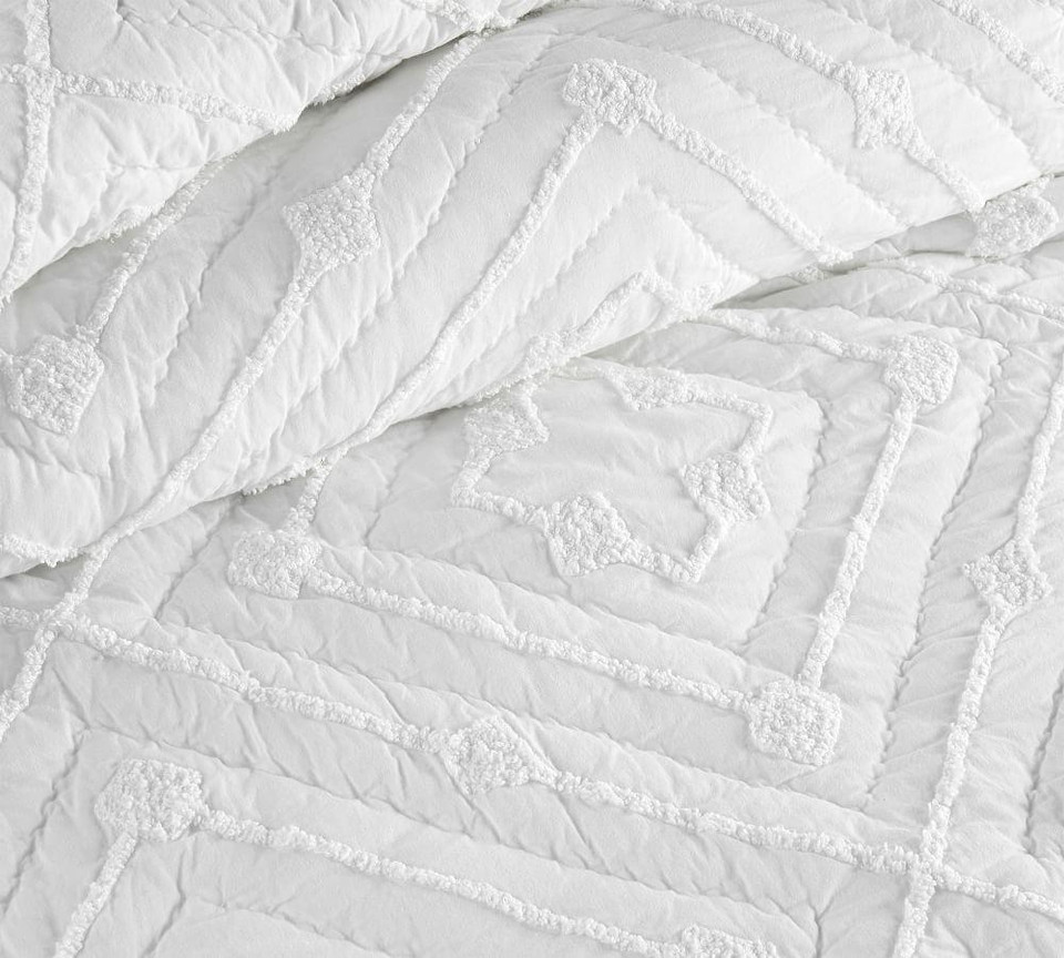 Diamond Candlewick Cotton Quilt & Shams