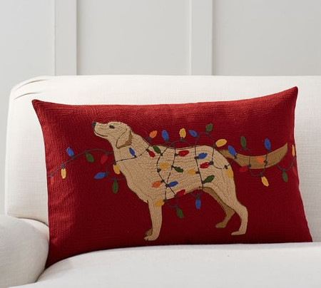 Dog with Lights Crewel Lumbar Pillow Cover