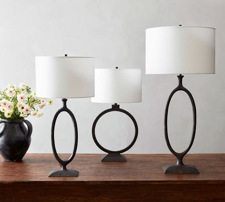 Easton Forged-Iron Oval Table Lamp Base