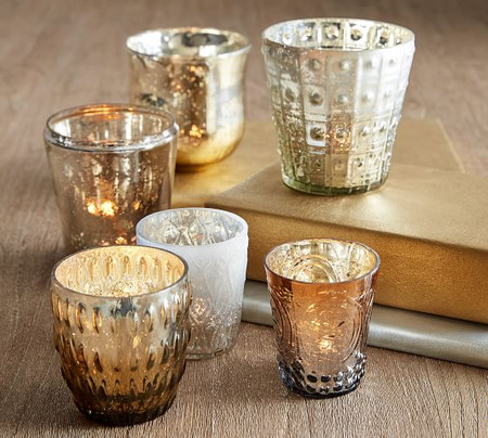 Eclectic Mercury Votive Holders, Set of 6 - Silver