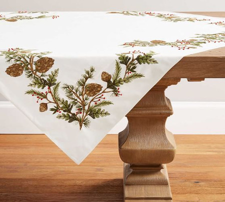Forest Pinecone Embroidered Cotton Table Throw