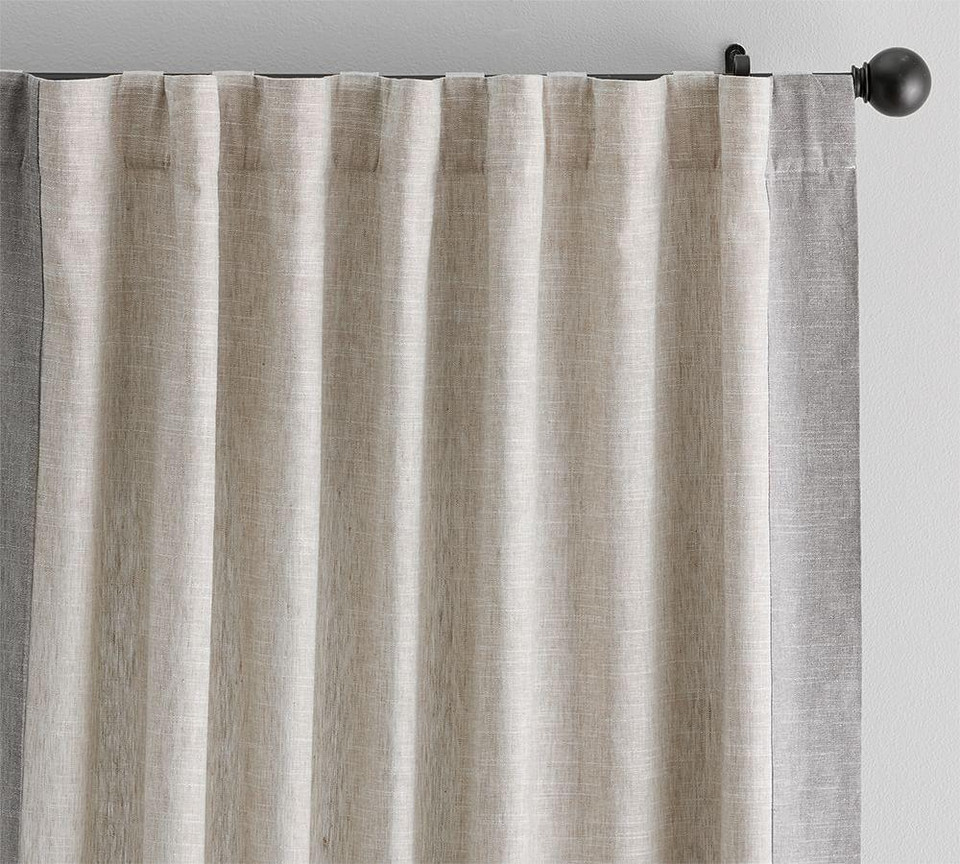 Emery Frame Border Linen Cotton Curtain Oatmeal Gray