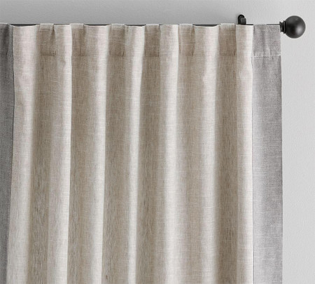 Emery Frame Border Linen/Cotton Curtain - Oatmeal/Black