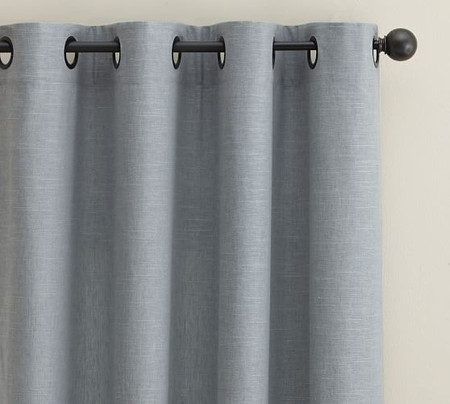 Emery Linen/Cotton Grommet Curtain - Blue Dawn