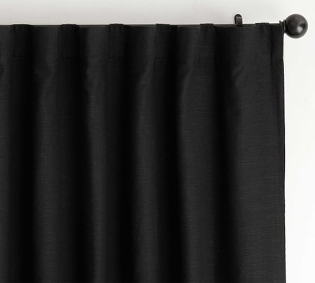 Emery Linen Pole-Pocket Blackout Curtain - Black