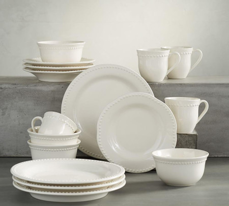 Emma Dinnerware 16 Piece Set with Cereal Bowl - White