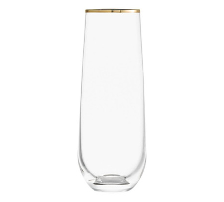 Gold Rim Handcrafted Stemless Champagne Flutes - Set of 4