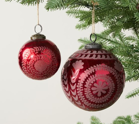 Etched Mercury Glass Ornament - Red