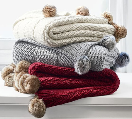 Faux Fur Pom Pom Knitted Throws