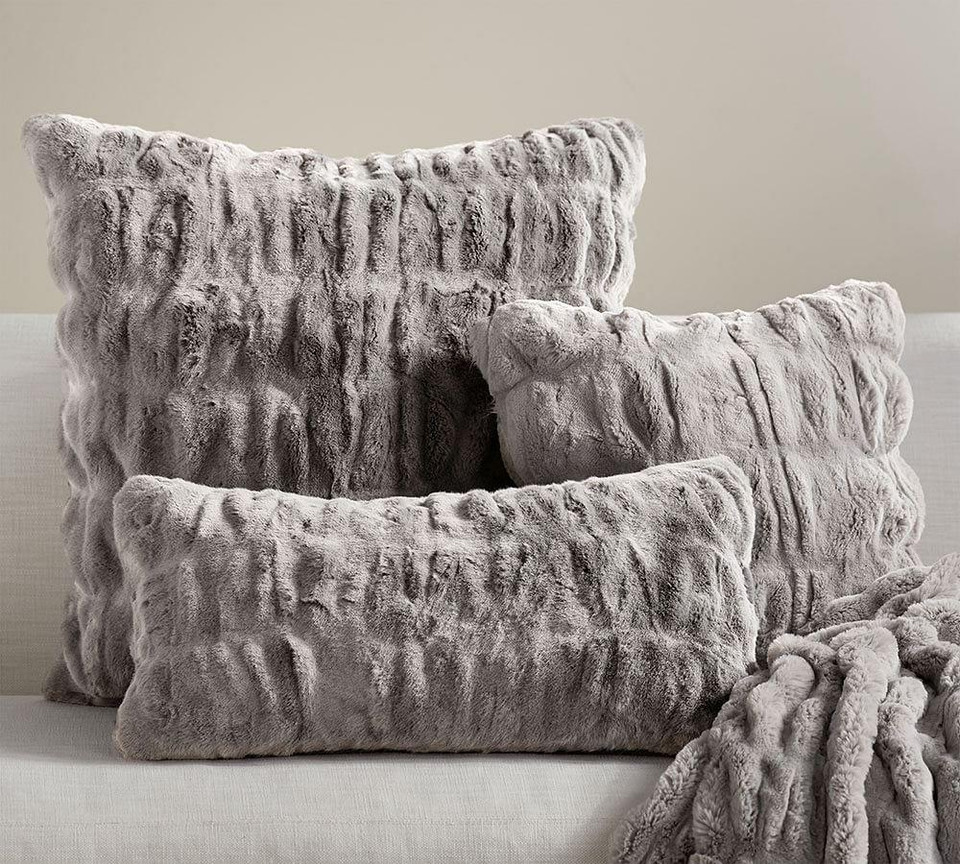 Faux Fur Ruched Pillow Covers Pottery Barn Canada