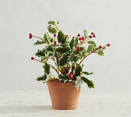 Faux Potted Holly