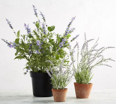 Faux Potted Lavender in Terra Cotta Pot