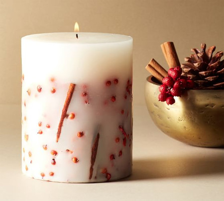 Fireside Cinnamon Scented Pillar Candle