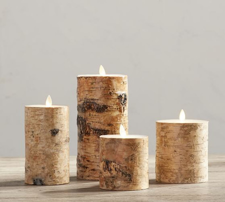 Premium Flicker Flameless Birch Wax Pillar Candle